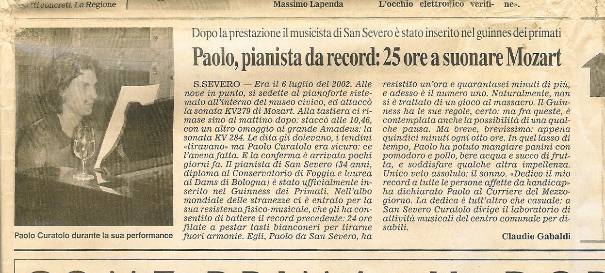 Il pianista Paolo curatolo entra nel Guinness dei primati per il concerto pianistico di di oltre 25 ore